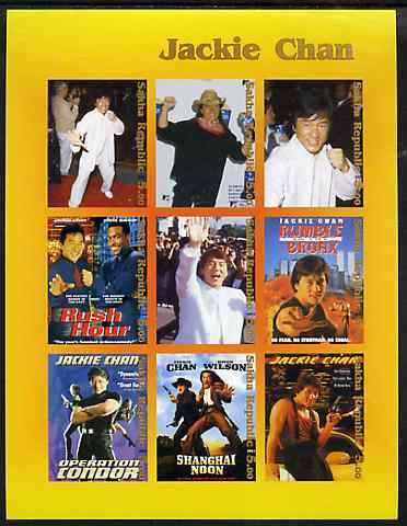 Sakha (Yakutia) Republic 2001 Jackie Chan imperf sheetlet containing complete set of 9 values unmounted mint