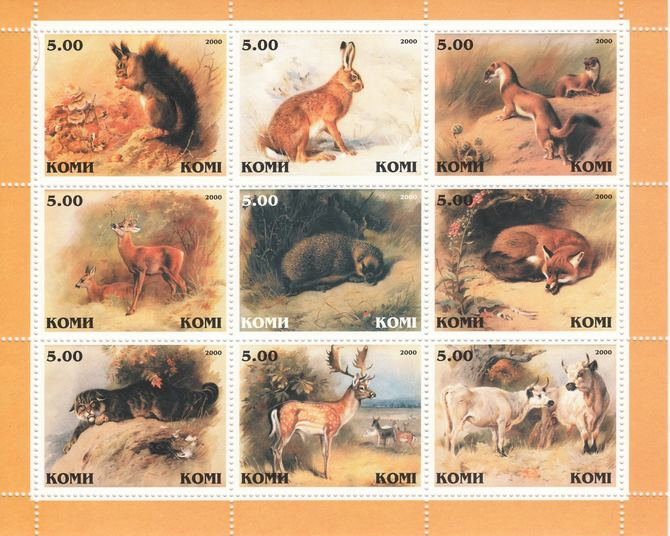 Komi Republic 2000 Animals perf sheetlet containing complete set of 9 values unmounted mint