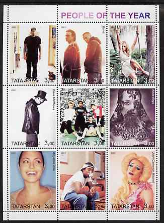 Tatarstan Republic 2001 People of the Year #2 perf sheetlet containing set of 9 values unmounted mint (Bono, B Spears, etc), stamps on personalities, stamps on millennium, stamps on music, stamps on pops, stamps on rock
