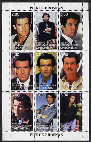 Chechenia 1999 Pierce Brosnan perf sheetlet containing set of 9 values unmounted mint