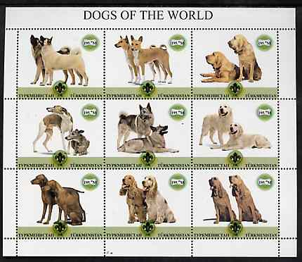Turkmenistan 2001 ? Dogs of the World perf sheetlet containing 9 values each with Scout logo unmounted mint