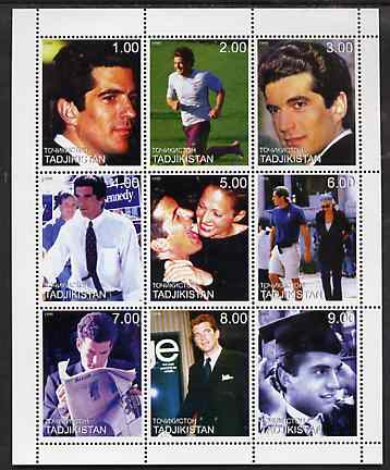 Tadjikistan 1999 John Kennedy Jnr #1 (vert format) perf sheetlet containing 9 values unmounted mint, stamps on personalities, stamps on kennedy