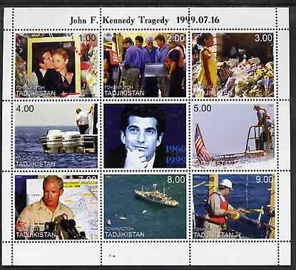 Tadjikistan 1999 John Kennedy Jnr #2 (horiz format) perf sheetlet containing 9 values unmounted mint