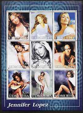 Udmurtia Republic 2002 Jennifer Lopez perf sheetlet containing 9 values unmounted mint