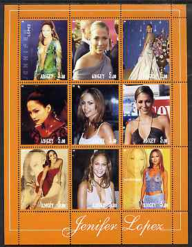 Adigey Republic 2001 Jennifer Lopez perf sheetlet containing 9 values unmounted mint