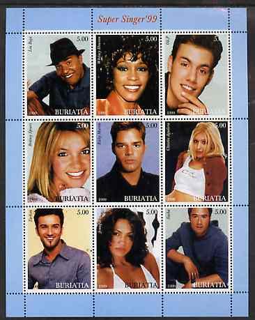 Buriatia Republic 1999 Super Singer '99 perf sheetlet containing complete set of 9 values unmounted mint
