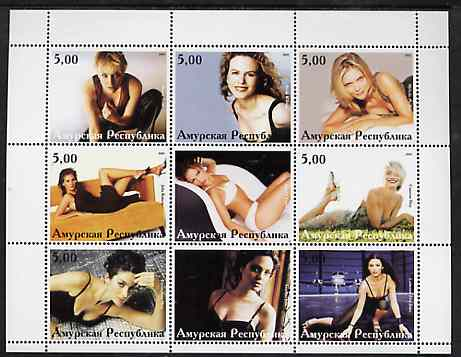 Amurskaja Republic 2001 Actresses perf sheetlet containing 9 values unmounted mint (M Pfeiffer, C Diaz, J Lopez, etc)