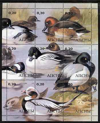 Abkhazia 2000 Ducks perf composite sheetlet containing 9 values unmounted mint
