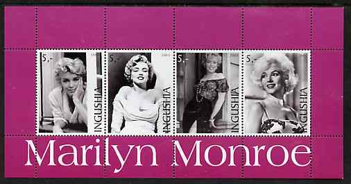 Ingushetia Republic 2003 Marilyn Monroe perf sheetlet containing set of 4 values unmounted mint