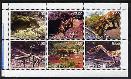 Tadjikistan 2000 Dinosaurs perf sheetlet containing 6 values unmounted mint