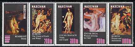 Naxcivan Republic 1999 ? Nude Paintings perf strip of 5 values complete unmounted mint
