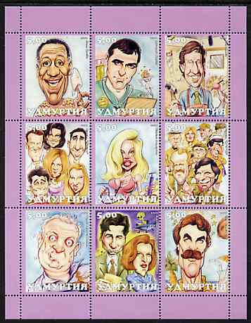 Udmurtia Republic 2001 Caricatures of TV Personalities perf sheetlet containing set of 9 values unmounted mint