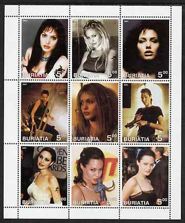 Buriatia Republic 2001 Angelina Jolie perf sheetlet containing set of 9 values unmounted mint