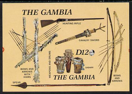 Gambia 1987 Musical Instruments (with Rifle, Bow & Arrows, Spear etc) imperf m/sheet from one of the two Format archive imperf proof sheets, as SG MS 690