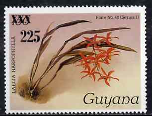 Guyana 1985-89 Orchids Series 1 plate 40 (Sanders' Reichenbachia) 225 on 150c unmounted mint, unlisted by SG