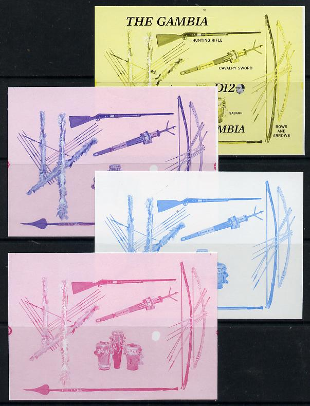 Gambia 1987 Musical Instruments m/sheet (with Rifle, Bow & Arrows, Spear etc) in set of 4 imperf progressive colour proofs comprising blue & magenta individual colours and two 2-colour composites from the Format archive imperf proof sheet, as SG MS 690 unmounted mint