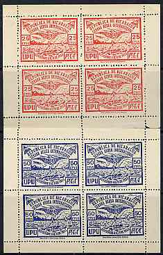 Nicaragua 1933 Aviation perf sheetlets of 4 in red & blue without gum