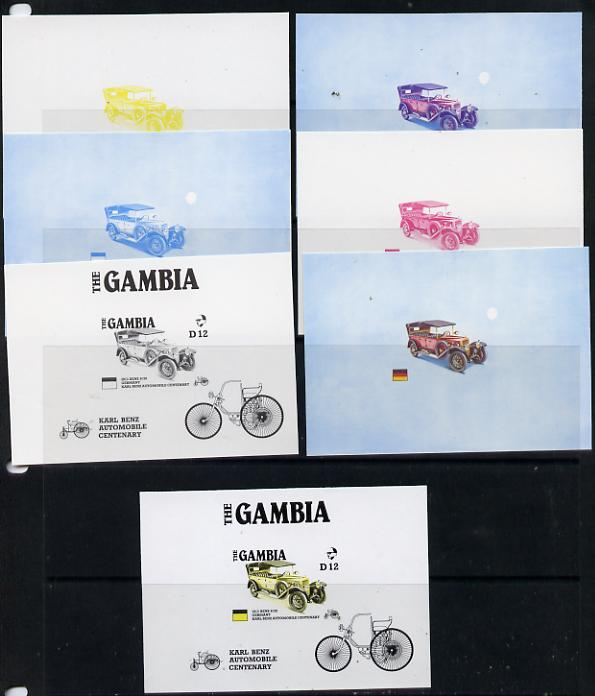 Gambia 1987 Ameripex (Benz Motor Car Centenary) m/sheet (1913 Benz 8/20) in set of 7 imperf progressive colour proofs comprising the 4 individual colours, two 2-colour & 3-colour composite2, from the Format archive imperf proof sheet as SG MS 658 unmounted mint