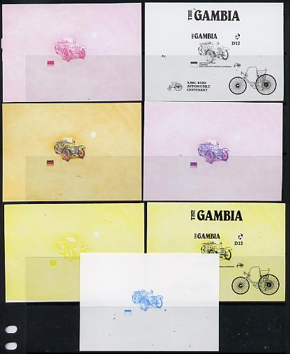 Gambia 1987 Ameripex (Benz Motor Car Centenary) m/sheet (1924 Steiger 10/50) in set of 7 imperf progressive colour proofs comprising the 4 individual colours, two 2-colour & 3-colour composites, Ex Format archive imperf proof sheet, as SG MS 658 unmounted mint