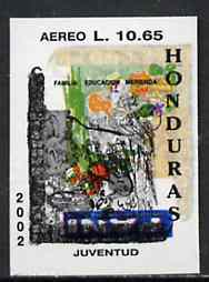 Honduras 2001 America - AIDS Awareness Campaign 10L65 Scarlet Macaw imperf proof doubly printed with Family Education stamp unmounted mint as SG1614