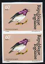 Togo 1981 Starling 60f imperf pair from Birds set unmounted mint, as SG 1531, stamps on birds, stamps on starlings