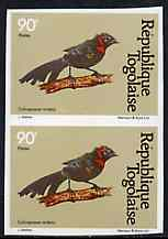 Togo 1981 Whydah 90f imperf pair from Birds set unmounted mint, as SG 1532