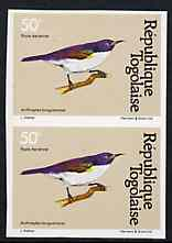 Togo 1981 Sunbird 50f imperf pair from Birds set unmounted mint, as SG 1533