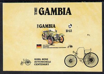 Gambia 1987 Ameripex (Benz Motor Car Centenary) imperf m/sheet (1924 Steiger 10/50) from the Format archive imperf proof sheet unmounted mint, as SG MS 658