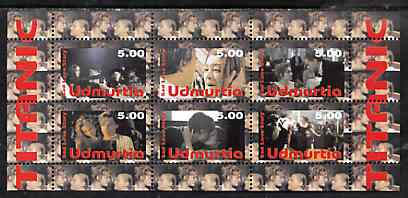 Udmurtia Republic 1998 Titanic - Sad Love Story perf sheetlet containing 6 values unmounted mint
