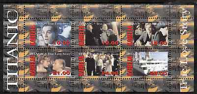 Karelia Republic 1998 Titanic - True Love Story perf sheetlet containing 6 values unmounted mint