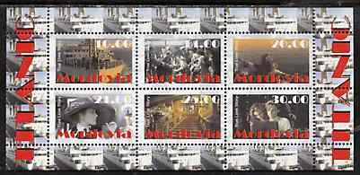 Mordovia Republic 1998 Titanic #1 - True Love Story perf sheetlet containing 6 values unmounted mint, stamps on films, stamps on cinema, stamps on entertainments, stamps on ships, stamps on titanic, stamps on disasters, stamps on