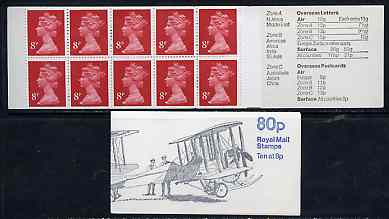 Booklet - Great Britain 1979-81 Military Aircraft #1 (Vickers Gun Bus) 80p booklet with selvedge at right complete SG FE1B