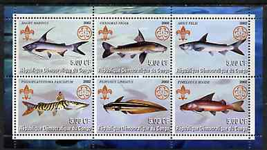 Congo 2002 Fish #1 perf sheetlet containing set of 6 values, each with Scouts & Guides Logos unmounted mint