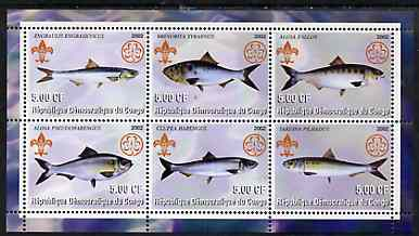 Congo 2002 Fish #2 perf sheetlet containing set of 6 values, each with Scouts & Guides Logos unmounted mint