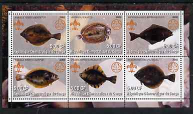 Congo 2002 Fish #3 (flat fish) perf sheetlet containing set of 6 values, each with Scouts & Guides Logos unmounted mint