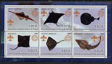 Congo 2002 Fish #4 (Skates & Rays) perf sheetlet containing set of 6 values, each with Scouts & Guides Logos unmounted mint