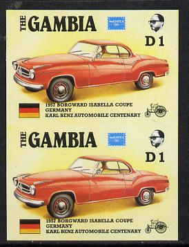 Gambia 1987 Ameripex 1d (1957 Borgward Isabella Coupe) imperf pair from the Format archive proof sheet, as SG 652*