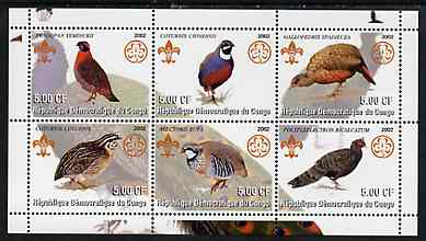 Congo 2002 Game Birds perf sheetlet containing set of 6 values, each with Scouts & Guides Logos unmounted mint