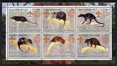 Congo 2002 Opossums perf sheetlet containing set of 6 values, each with Scouts & Guides Logos unmounted mint