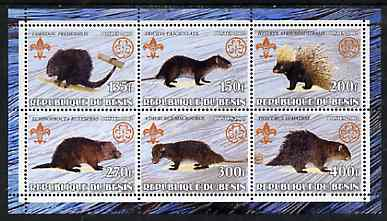 Benin 2002 Porcupines perf sheetlet containing set of 6 values, each with Scouts & Guides Logos unmounted mint