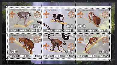 Benin 2002 Lemurs perf sheetlet containing set of 6 values, each with Scouts & Guides Logos unmounted mint