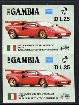 Gambia 1987 Ameripex 1d25 (1985 Lamborghini) imperf pair from the Format archive proof sheet, as SG 653*