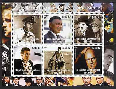 Congo 2002 Film Stars of the 20th Century (Male) perf sheetlet containing set of 6 values unmounted mint
