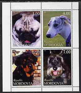 Mordovia Republic 1999 Dogs perf sheetlet containing set of 4 values unmounted mint