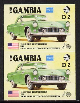 Gambia 1987 Ameripex 2d (1955 Ford Thunderbird) imperf pair from the Format archive proof sheet, as SG 654*