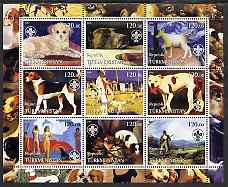 Turkmenistan 2002 Paintings with Dogs #2 perf sheetlet containing 9 values, each with Scouts Logo unmounted mint