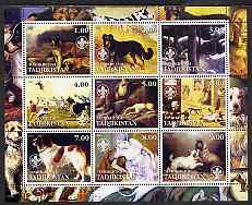 Tadjikistan 2002 Paintings with Dogs #2 perf sheetlet containing 9 values, each with Scouts Logo unmounted mint