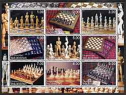 Tadjikistan 2000 Chess Pieces & Chess Sets perf sheetlet containing set of 9 values unmounted mint