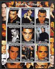 Kyrgyzstan 2001 Robbie Williams perf sheetlet containing 9 values unmounted mint
