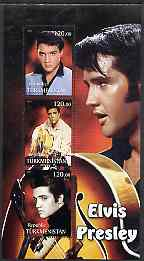 Turkmenistan 2001 Elvis Presley perf sheetlet containing 3 values unmounted mint